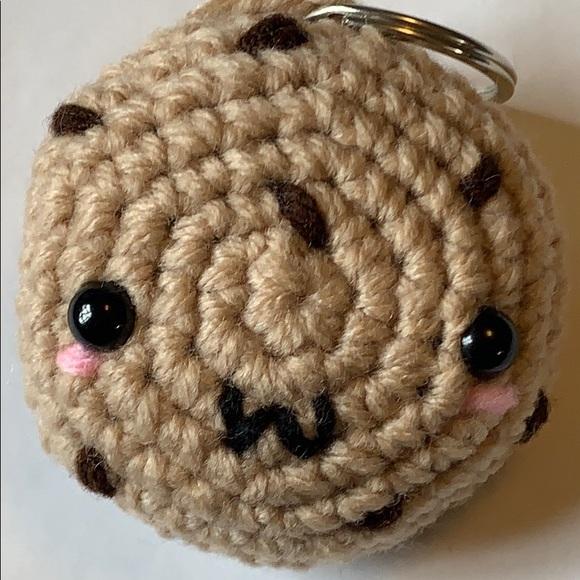 Chocolate chip cookie crochet plush